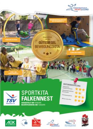 1. Gütesiegel BEWEGUNGSKITA der Sportkita Falkennest in Falkensee