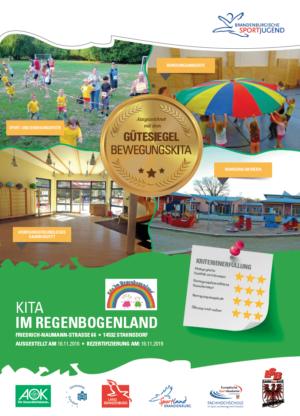 2. Gütesiegel BEWEGUNGSKITA der Kita Im Regenbogenland in Stahnsdorf